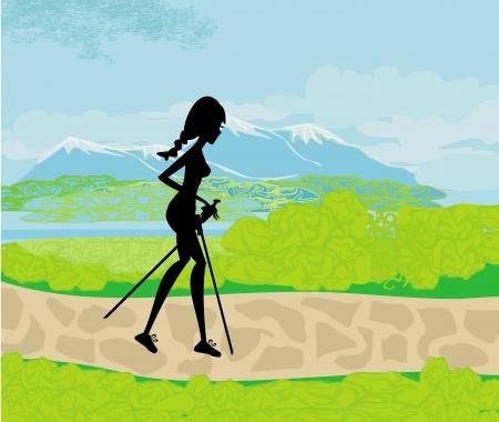 Nordic walking - meisje uitoefenen in de bergen Vector Illustratie