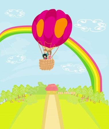 Family flying a hot air balloon over the rainbow Vector