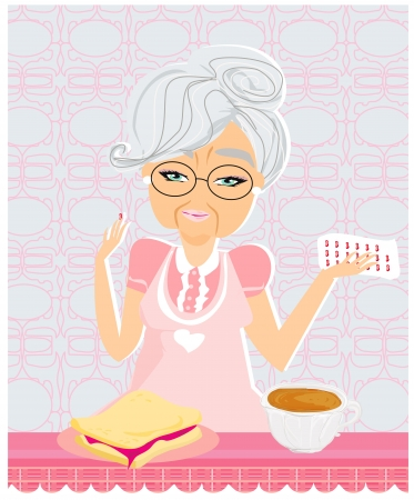 dinning table: Elderly woman taking her medication with her meal  Illustration