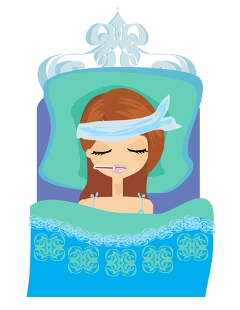 sick girl: sick girl lying in bed Illustration