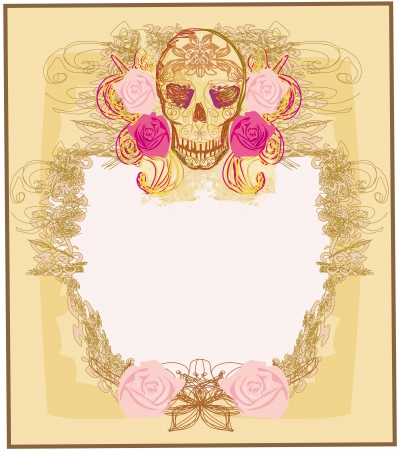 all saint day: Day of the Dead card  Illustration