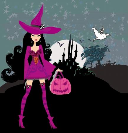 brujas caricatura: ilustraci�n de la bruja con la calabaza de Halloween