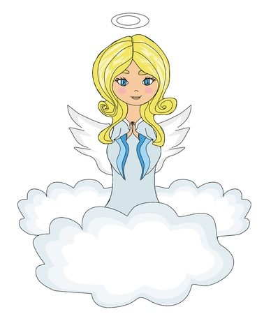 guardian angel: sweet little girl angel Praying while Kneeling on the Clouds