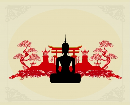 Silhouette of a Buddha,Asian landscape in the background
