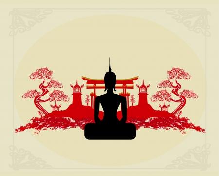 cabeza de buda: Silueta de un Buda, paisaje asi�tico en el fondo