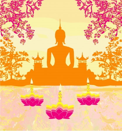 unesco: Sukhothai loy krathong festival , Silhouette of a Buddha