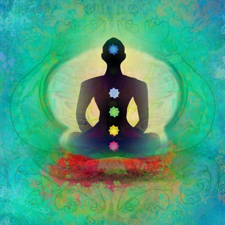 meditation man: Yoga lotus pose. Padmasana with colored chakra points.