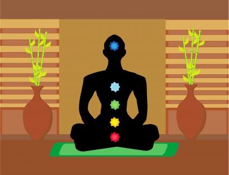 Yoga lotus pose. Padmasana with colored chakra points.  Vector