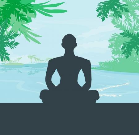 dhyana: Meditazione Yoga silhouette da uomo a palme, mare e cielo al tramonto sfondo