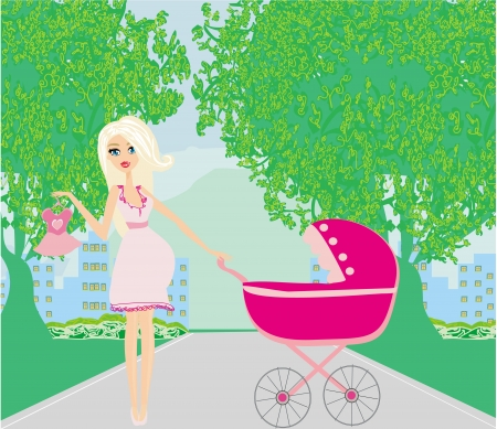 beautiful pregnant woman pushing a stroller  Stock Vector - 21821027