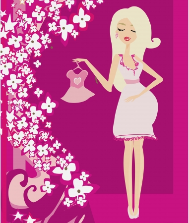 Beautiful pregnant woman on shopping Stock Vector - 21821025