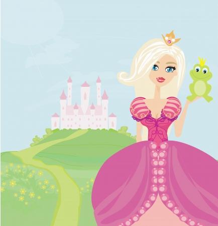 popular tale: Beautiful young princess holding a big frog