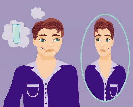 acne: boy in puberty with acne  Illustration