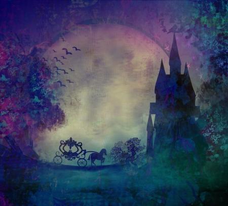 Rijtuig bij zonsondergang Silhouet van een paard en wagen en een middeleeuws kasteel Stockfoto
