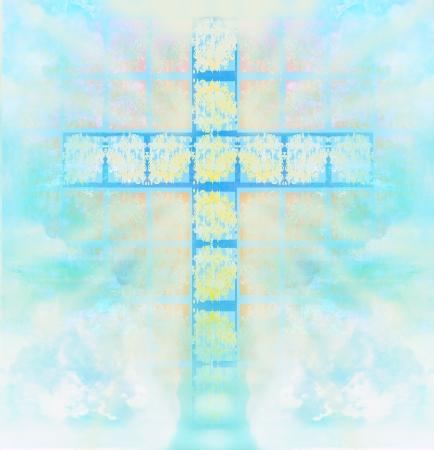 하늘에서 유리 십자가 스톡 콘텐츠