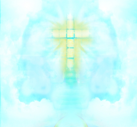 heavenly light: A transparent Cross giving out heavenly light in the sky