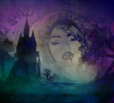 beautiful vampire girl on halloween background  photo