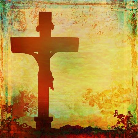 catholic symbol: Jesus Christ crucified , grunge background
