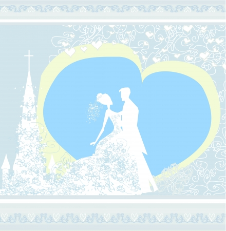 wedding couple and the church background  Vector