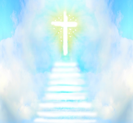 jesus clouds: Stairway leads to cross and glowing light  Stock Photo