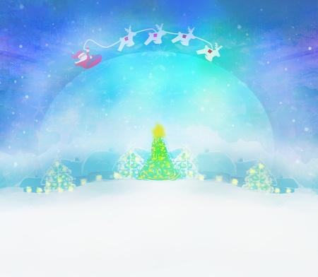 Santa and winter landscape illustration illustration