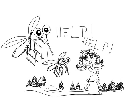 insect repellent: girl runs away from mosquitoes