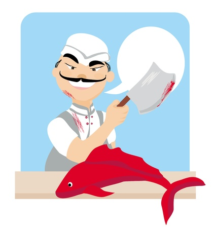 Japanese fishmonger butcher chef cook with knife holding red fish Vector