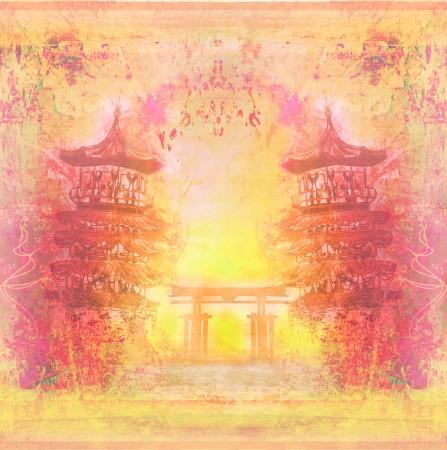 Decorative Chinese landscape card  photo