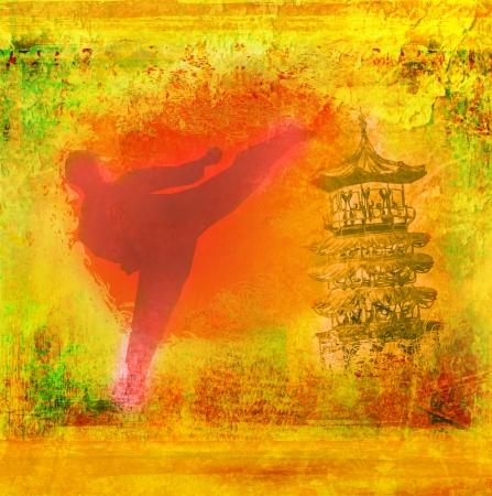 kumite: karate man - Grunge background