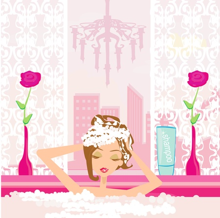 거품 목욕을 세척하는 여자 머리. 일러스트