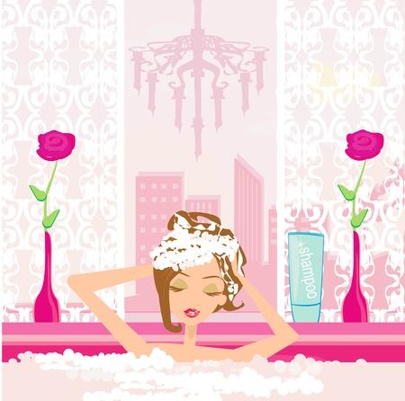 Vrouw wassen van het haar in het bubbelbad. Stockfoto - 22007499