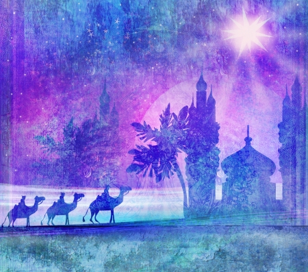 camel desert:  Classic three magic scene and shining star of Bethlehem  Stock Photo