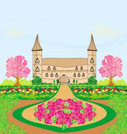 paysage avec un beau château et des jardins