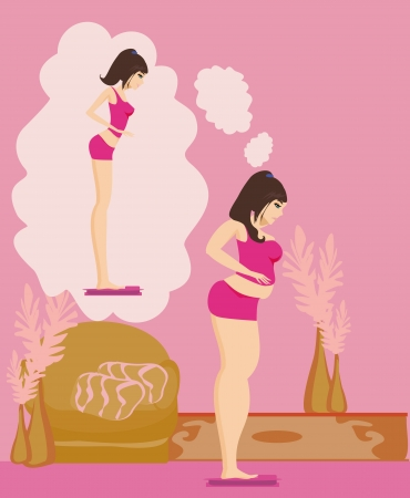 Overweight girl brunette checking her weight on scales  Stock Vector - 22007907