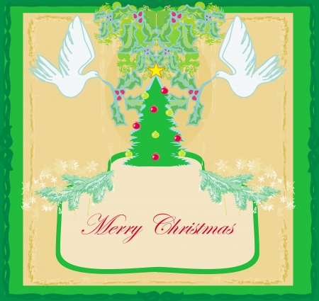 Christmas card with doves and mistletoe Stock Vector - 22151925