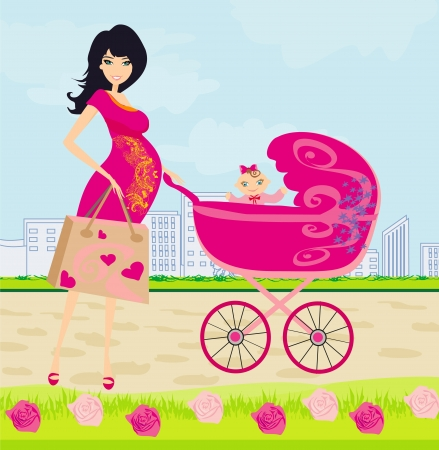 awaiting: beautiful pregnant woman pushing a stroller with her daughter