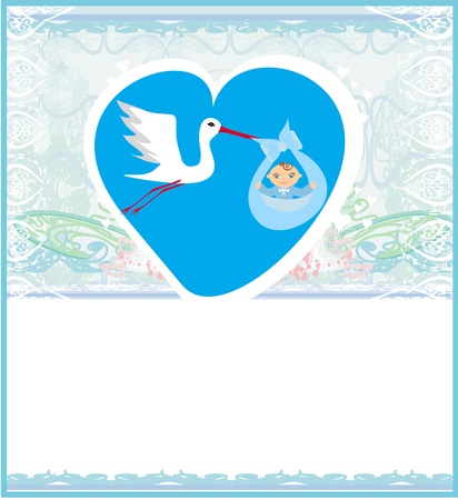 stork flying with bundle: Baby Boy Card - A stork delivering a cute baby boy.