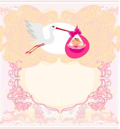 Baby girl Card - A stork delivering a cute baby girl.  Vector