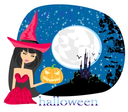 pretty witch in a red dress Vector