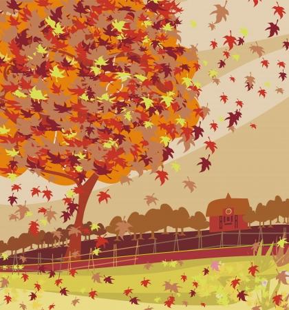 秋の農村風景イラスト