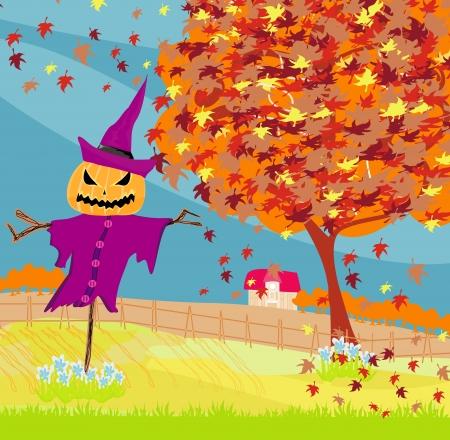 cartoon autumn: Halloween scarecrow, Autumn rural landscape