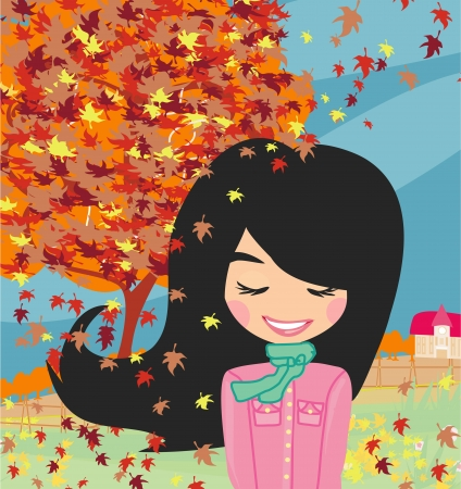 sweet girl in autumn Stock Vector - 22269565