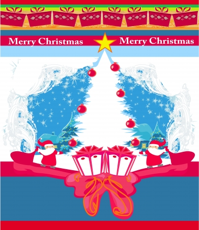 Abstract Christmas card with Santa Claus and Christmas tree frame Vector