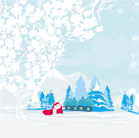Winter landscape with houses and funny Santa  Vector
