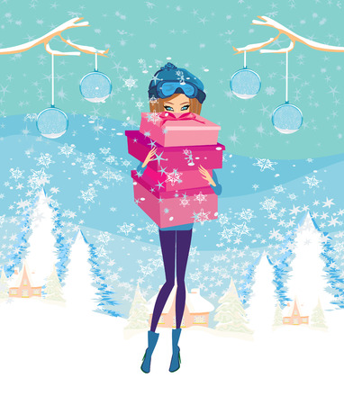 christmas shopping: elegant and fashionable girl with gift box  Illustration