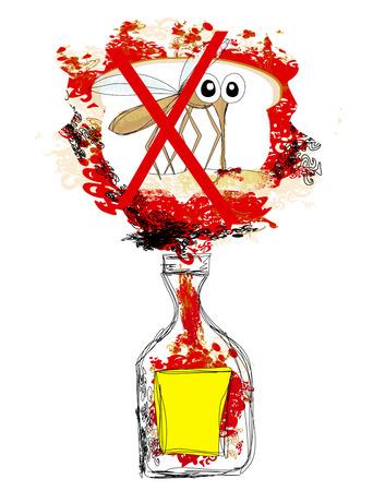 poison bottle: bottiglia di veleno di zanzara Vettoriali