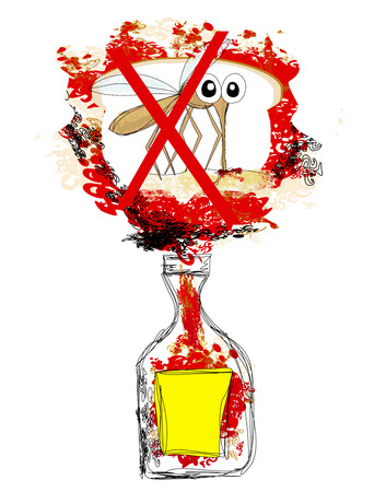 poison bottle: mosquito poison bottle Illustration