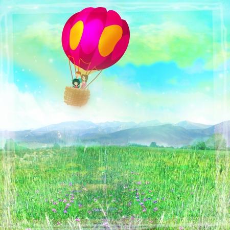 Illustration of happy family in a balloon Stock Illustration - 22269602