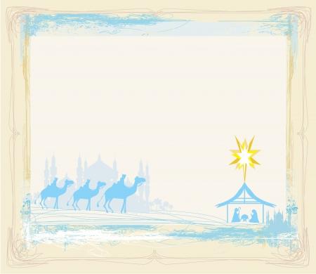 3 つの賢明な男性と従来のキリスト教のクリスマスのキリスト降誕のシーンとグランジ フレーム