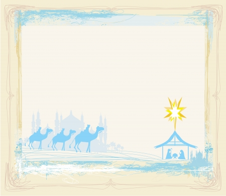 star of bethlehem: grunge frame with  traditional Christian Christmas Nativity scene with the three wise men  Illustration